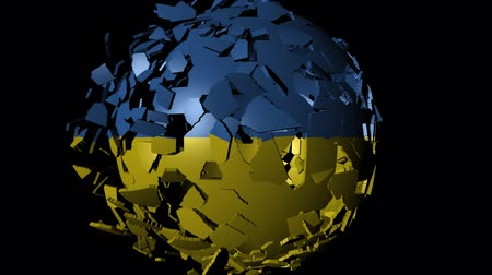 converge : Ukraine flag sphere combining and breaking apart animation