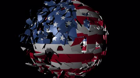 converge : USA flag sphere combining and breaking apart animation