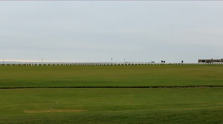 clubhouse : St Andrews, Scotland -  January 20 2017: Panning view of Royal and Ancient Golf Course