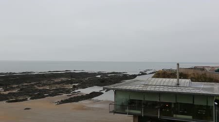 fife : St Andrews, Scotland -  January 20 2017: Panning view of St Andrews Aquarium and The Seafood Restaurant