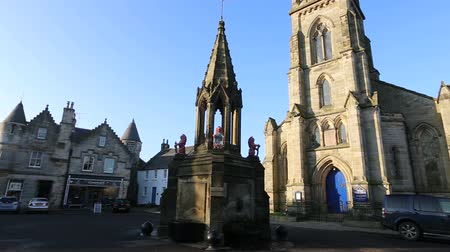 fife : Falkland, Scotland - January 26 2017: Panning view of High Street Stock Footage