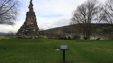 Panning view of  General Wades Bridge and Black Watch memorial Aberfeldy Scotland Stock Footage