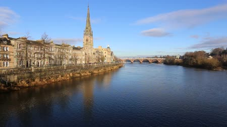 River Tay, St Matthews Church and Perth Council Offices Perth Scotland