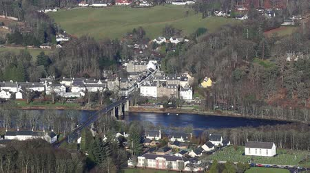 Elevated view of River Tay and Dunkeld Scotland