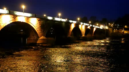 Smeaton Bridge by night Perth Scotland Stock Footage