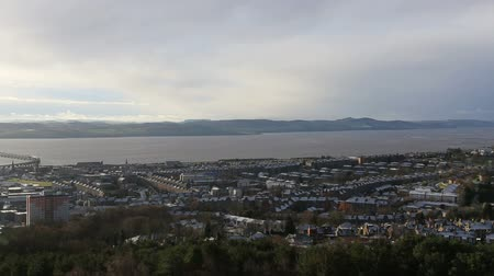 Elevated panning winter view of Dundee Scotland Stock Footage