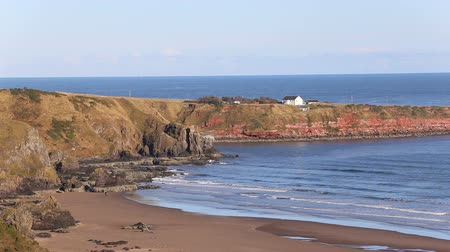 Elevated view of beach at St Cyrus Nature Reserve Scotland