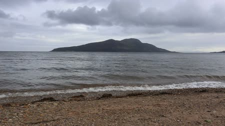 Beach at Lamlash Bay with Holy Isle, Arran Scotland