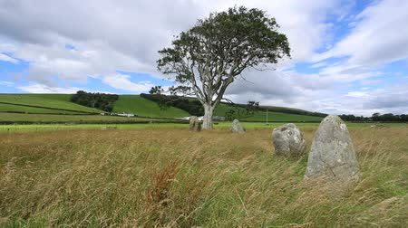 St Colmacs stone circle Isle of Bute Scotland Stock Footage