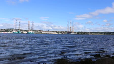 Oil rigs at Port of Dundee Scotland