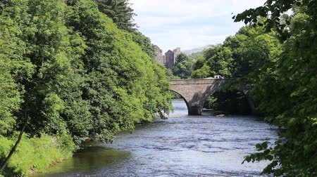 Teith Bridge with Doune Castle, Scotland Stock Footage