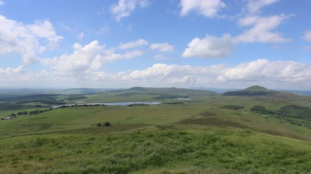 Ballo and Harperleas Reservoir with West Lomond Fife Scotland Stock Footage