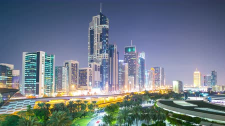 эмираты : night light panoramic great 4k time lapse from dubai