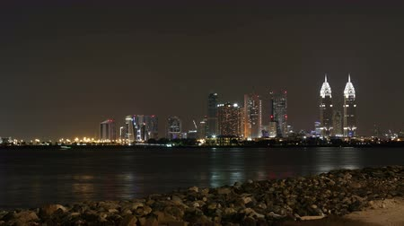 night 4k time lapse from dubai palm place Stock Footage