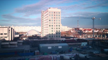 sunset construction of hotel 4k time lapse