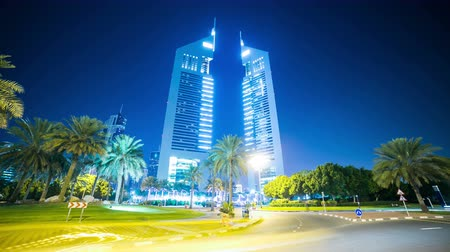 emirates towers 4k time lapse from dubai city Stock Footage