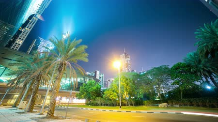 green palm night 4k time lapse from dubai centre Stock Footage