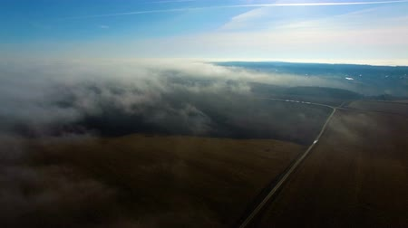 Aerial shot of fog above field. Autumn midday.