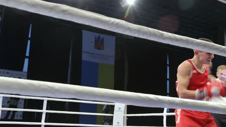árbitro : LVIV, UKRAINE - November 14, 2017 Boxing tournament. Lightweight boxers fight in boxing ring on tournament. Steadycam shot.
