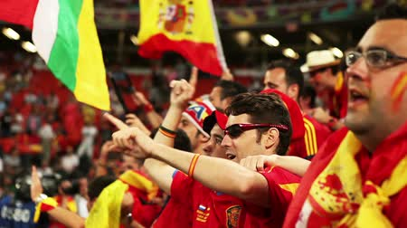 fan zone : UKRAINE EURO 2012 : Spanish football fans celebrate victory national Spain team