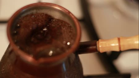 coffee brewing : HD Boiled Coffee Preparing in Vintage Bronze Turka