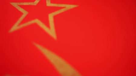 sovyet : Flying Soviet USSR Red Flag with Gold Gilded Star Stok Video