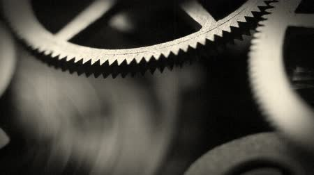zegar : Old style cinema: watch inside spring and gears Macro Footage Wideo