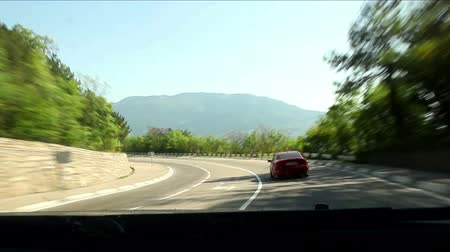 vista frontal : Mountain road inside car view near Yalta, Crimea, Ukraine