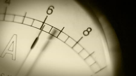 direct current : Old Movie Amperemeter hand Macro shoot Stock Footage