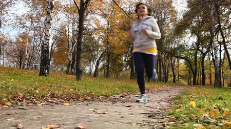 autumn : Female runner jogging in park in autumn park forest in fall colors