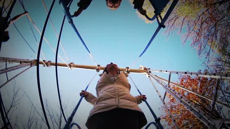swing : Mother with little son together on the swing - unusual fisheye view