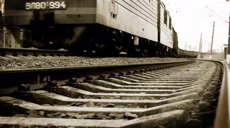 modern train wagon : Long soviet era Freight train arrival: black and white video