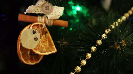 laur : Christmas tree branches with cute handmade natural decoration Wideo