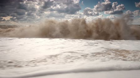 táj : Five elements: water. Slow motion of big ocean wave Stock mozgókép