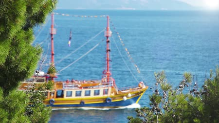 phaselis : Ship sails in deep blue waves of Adriatic Sea  High Definition Video : 29.97 FPS 20sec Please look another footages on my Train_Arrival Account.  Best Wishes.