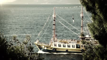 rhodes : Ship sails in deep blue waves Adriatic Sea OLD FILM  High Definition Video : 29.97 FPS 20sec   Stock Footage