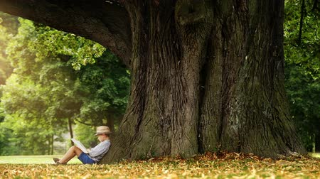 pictured : Little boy reading a book sitting a the foot of a big linden tree wearing straw hat. High Definition Video: 29.97 FPS 12sec Please look another footages on my TrainArrival Account. Best Wishes.