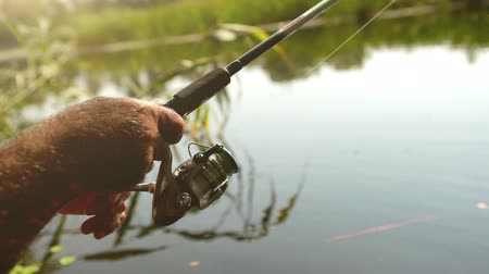 ryba : Fishing reel close up footage