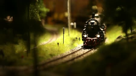 lokomotif : Steam locomotive  with cars toy goes in the child world Stok Video
