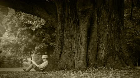 pictured : Old film footage Effect: Boy sits under the tree and reads a book Stock Footage