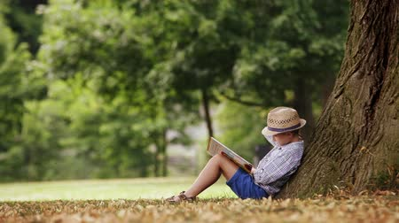 pictured : Little boy reading a book sitting at the foot of a big linden tree