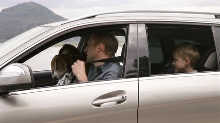 viagem por estrada : Mother, father, son and beagle dog sitting in the car, fastening belts and move off to the trip Stock Footage