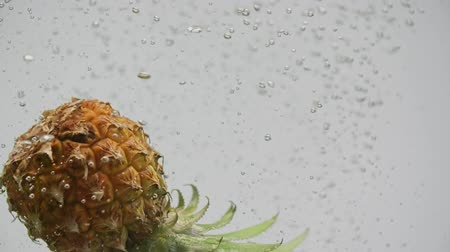 fructose : Ripe tropical fruit pineapple slice falling water splash bubbles white