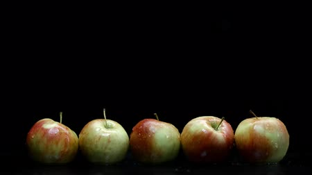 fructose : Red and yellow apples wash under water splash with lot of droplets on black background
