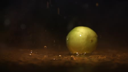 лимонный : Lime citrus fruits falling on water surface in orange light spot and cloud of fog with splash and drops close up