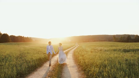 новобрачный : Bride groom hold their hands smile during walk countryside road sunset light Стоковые видеозаписи