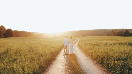 hátsó megvilágítású : Bride and groom standing and holding hands on a countryside road in sunset light Stock mozgókép