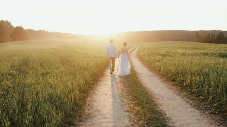 hátsó megvilágítású : Married couple, man and woman, walking on a countryside road in sunset light Stock mozgókép