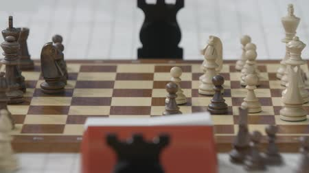 mastermind : People play chess at championship Stock Footage