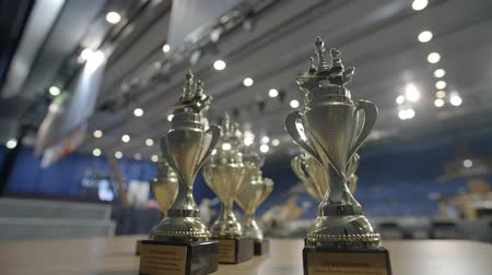 mastermind : Minsk, Belarus - June 22, 2018. Award cups World Cadets Chess Championship Stock Footage